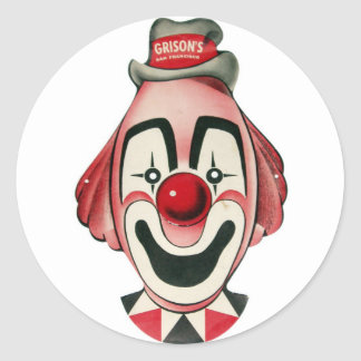 Kitsch Vintage Clown Face, Mask Classic Round Sticker