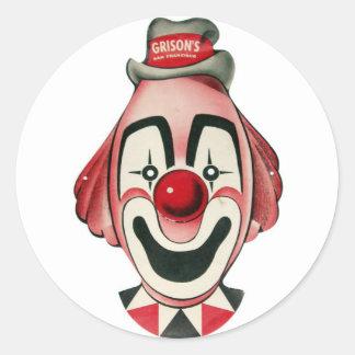 Kitsch Vintage Clown Face, Mask Round Sticker