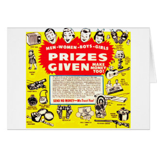 Kitsch Vintage Comic Ad 'Prizes Given!' Greeting Card