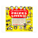 Kitsch Vintage Comic Ad 'Prizes Given!' Postcards