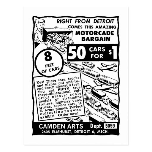 Kitsch Vintage Comic Book Toy Ad '50 Cars for $1' Post Card