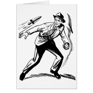Kitsch Vintage Comic Detective Dodging the Dagger Greeting Card