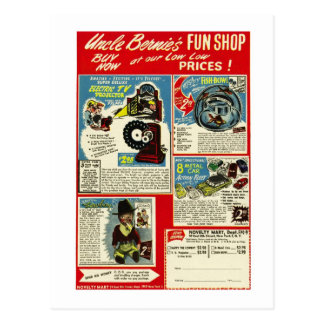 Kitsch Vintage Comic Toy Ad  'Uncle Bernie's' Postcard