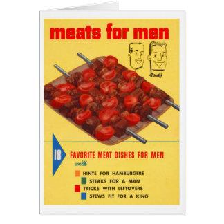 Kitsch Vintage Food 'Meats For Men' Cook Book Greeting Card