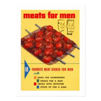 Kitsch Vintage Food Meats For Men Cook Book Postcard
