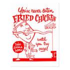 Kitsch Vintage Fried Chicken Ad Art Postcard