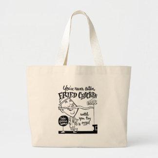 Kitsch Vintage Fried Chicken Ad Art Tote Bag