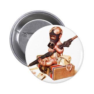 Kitsch Vintage Gas Mask War Baby 6 Cm Round Badge