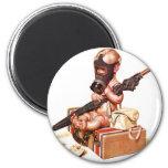 Kitsch Vintage Gas Mask War Baby 6 Cm Round Magnet