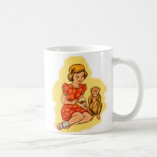 Kitsch Vintage Girl Feeding Her Pet Monkey Mugs
