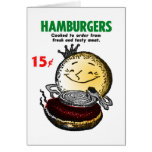 Kitsch Vintage Hamburgers 'Only 15¢' Greeting Cards