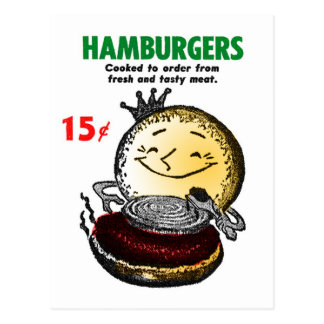 Kitsch Vintage Hamburgers 'Only 15¢' Postcard