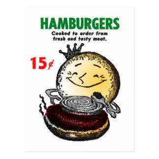 Kitsch Vintage Hamburgers 'Only 15¢' Postcard