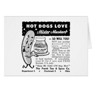 Kitsch Vintage Hot Dog Love Ad Art Greeting Card