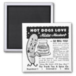 Kitsch Vintage Hot Dog Love Ad Art Square Magnet