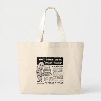 Kitsch Vintage Hot Dog Love Ad Art Bags
