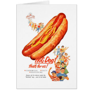 Kitsch Vintage Hot Dogs for Us! Card