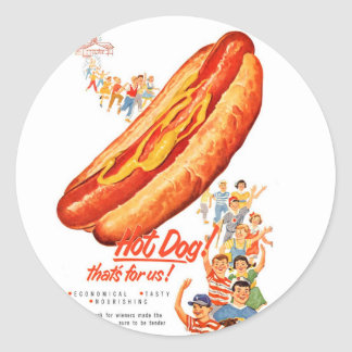 Kitsch Vintage Hot Dogs for Us! Classic Round Sticker