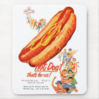 Kitsch Vintage Hot Dogs for Us! Mouse Pad