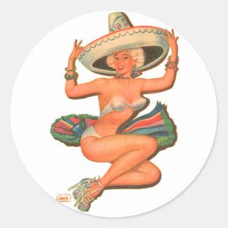Kitsch Vintage 'Hot Salsa' Pin-Up Girl Classic Round Sticker