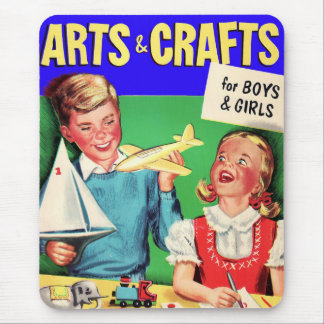 Kitsch Vintage Kid's 'Arts & Crafts' Book Mouse Mat
