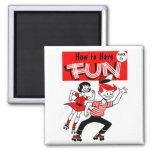 "Kitsch Vintage Kids ""How to Have Fun"" Refrigerator Magnet"