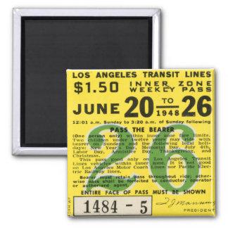 Kitsch Vintage L A Transit Ticket Refrigerator Magnets