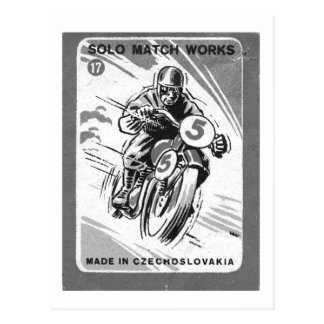 Kitsch Vintage Matchbook Solo Motorcycle Postcard