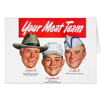 Kitsch Vintage 'Meet your Meat Team' Ad Art Greeting Card