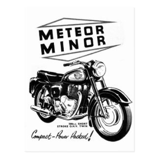 Kitsch Vintage 'Metor Minor' Motorcycle Bikers Postcard