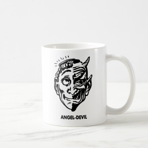 Kitsch Vintage Monster Angel and Devil Man Coffee Mugs
