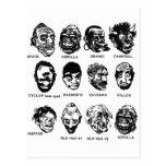 Kitsch Vintage Monster Masks with Hair Postcard