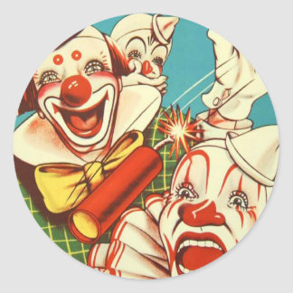 Kitsch Vintage Never Trust a Clown Classic Round Sticker