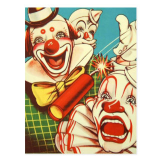 Kitsch Vintage Never Trust a Clown Postcard