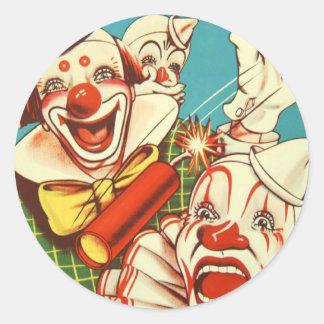 Kitsch Vintage Never Trust a Clown Round Sticker