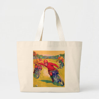 Kitsch Vintage Odd Sports 'Motorcycle Polo' Jumbo Tote Bag