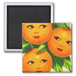 Kitsch Vintage Oranges 'Orange Girls' Square Magnet