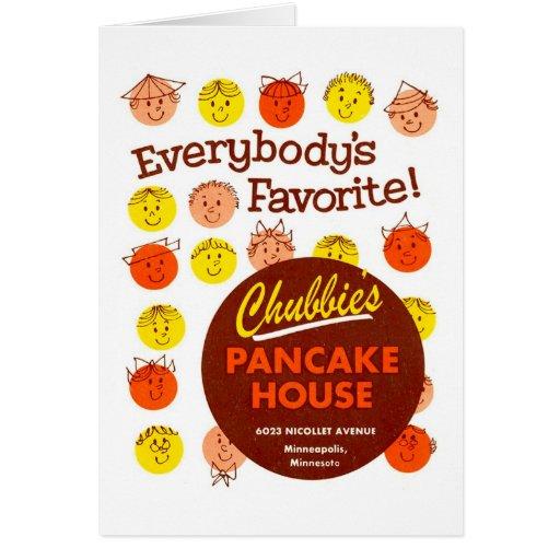 Kitsch Vintage Pancake House 'Chubbie's' Greeting Cards