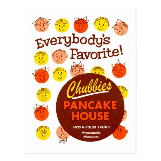 Kitsch Vintage Pancake House 'Chubbie's' Post Cards