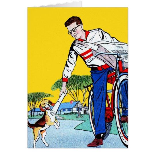 Kitsch Vintage Paper Boy & Dog Card