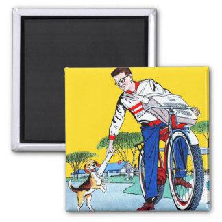 Kitsch Vintage Paper Boy & Dog Magnets