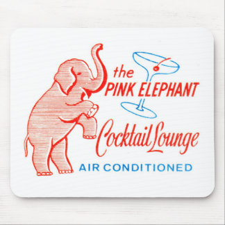 Kitsch Vintage Pink Elephant Cocktail Lounge Mouse Mat