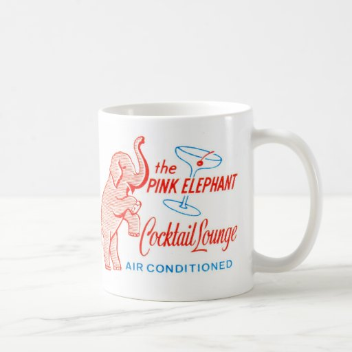 Kitsch Vintage Pink Elephant Cocktail Lounge Coffee Mugs