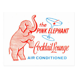 Kitsch Vintage Pink Elephant Cocktail Lounge Postcard