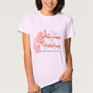 Kitsch Vintage Pink Elephant Cocktail Lounge Tee Shirt