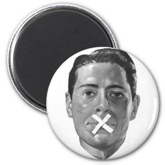 "Kitsch Vintage Propoganda 'Loose Lips"" 6 Cm Round Magnet"