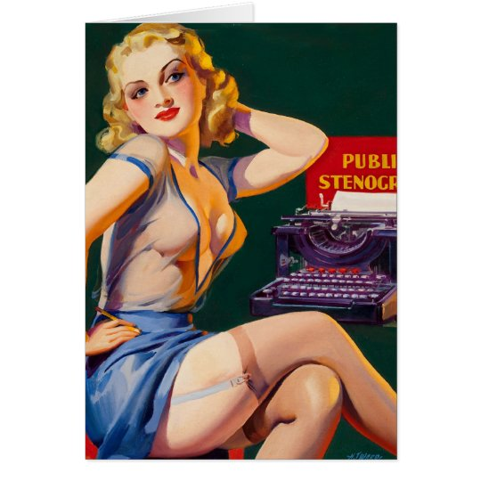 Kitsch Vintage 'Public Stenographer' Pinup Girl Greeting Card