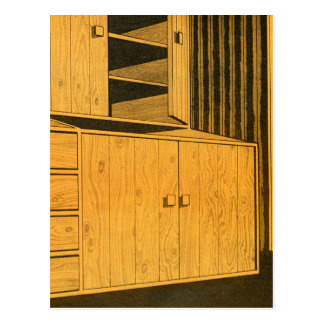 Kitsch Vintage Retro 60s Suburbs Plywood Cabinets Postcard