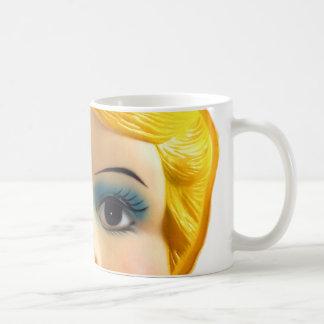 Kitsch Vintage Retro Blow Up Doll Face Coffee Mug