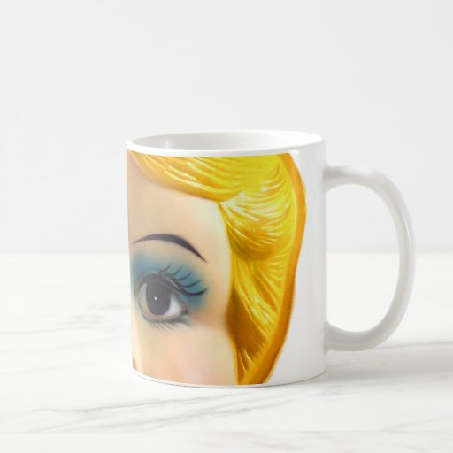 Kitsch Vintage Retro Blow Up Doll Face Coffee Mugs